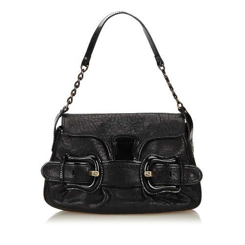 Fendi Chain Black Leather Shoulder Bag