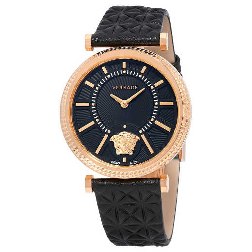 VERSACE V-Helix Black Dial Leather Ladies Watch