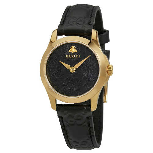 Gucci G-Timeless Black Dial Black Leather Ladies Watch